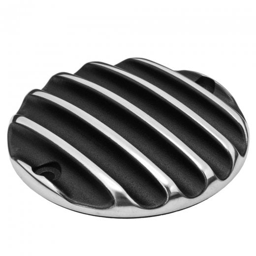 Motone Clutch Badge - Ribbed - Black Polished Rib Contrast Finish