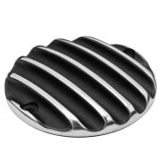 Clutch Badge - Ribbed - Black Polished Rib Contrast Finish