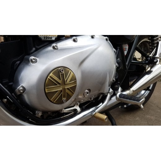 Motone Clutch Badge - Union Jack - Brass Finish