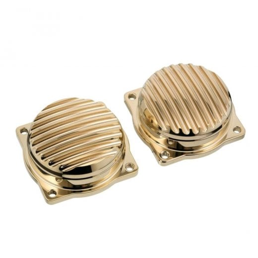 Motone Finned EFI Carb Tops Contrast Cut Brass
