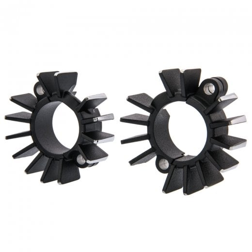 Motone Finned Exhaust Clamps - LC - Black/Contrast Polished Fins