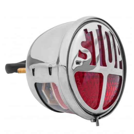 Motone Miller/Vincent Classic STOP - Taillight Unit - Polish STAINLESS Housing - LED