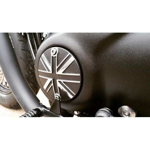 Motone Clutch Badge - Union Jack - Black/Polish Contrast Finish
