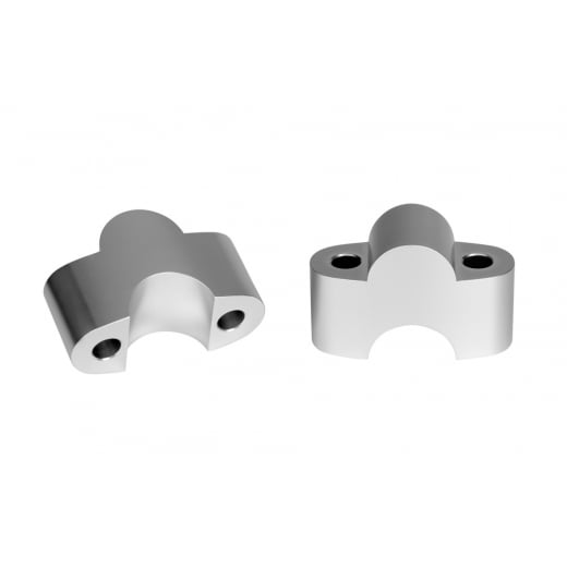Motone Handlebar Riser Inserts - One Inch Rise - For One Inch Bars - Clear/Silver