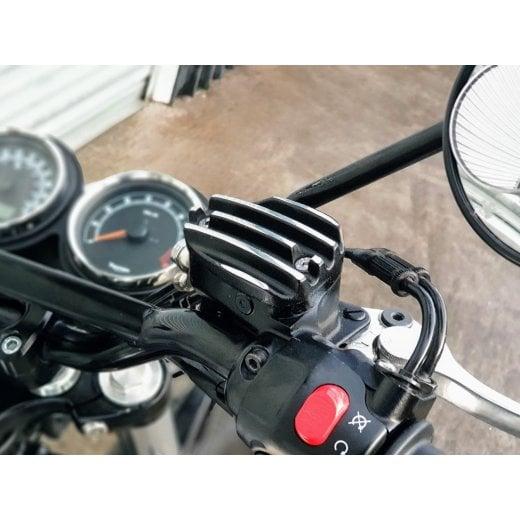 Pressure Cast Disc Brake Oil Reservoir Master Cylinder Cap - Finned/Ribbed - Black Contrast Polished