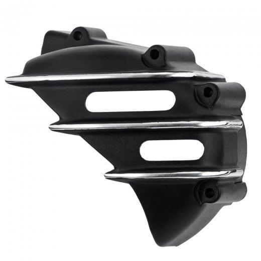 Speedster Sprocket Cover - Ribbed - Black with Contrast Polished Fins - AC