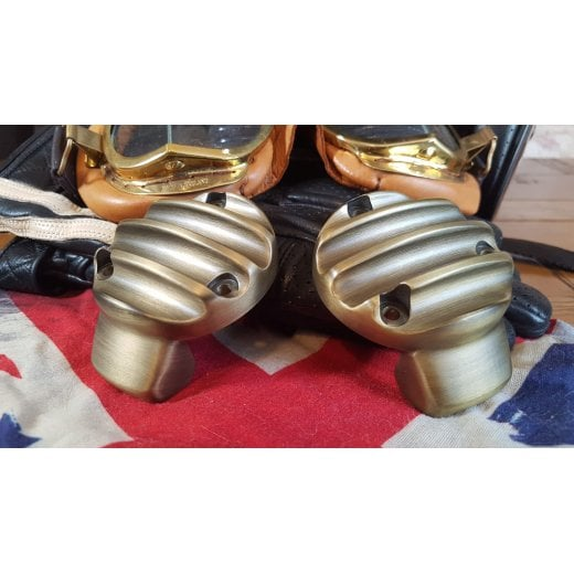 Motone TPS Carb/Throttle Body Cover - Pair - Ribbed - Brass Coat