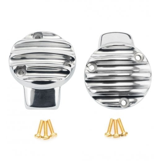 Motone TPS Carb/Throttle Body Cover - Pair - Ribbed/Finned - Polished