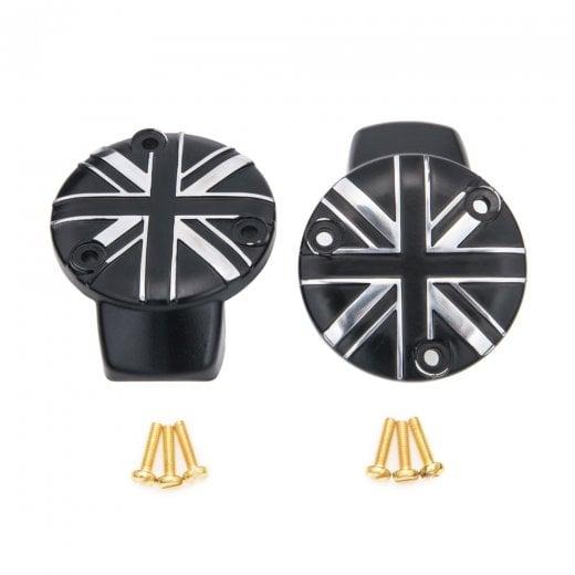 Motone TPS Carb/Throttle Body Cover - Pair - Union Jack - Black/Contrast Polish