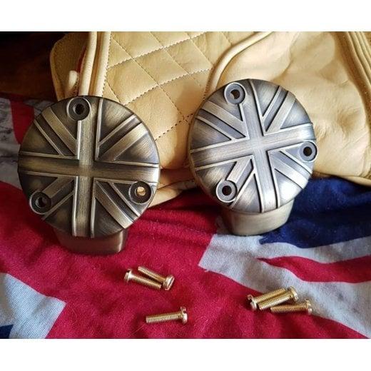 Motone TPS Carb/Throttle Body Cover - Pair - Union Jack - Brass Coat