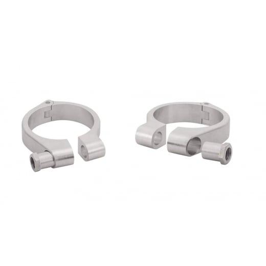 Motone Wrap-Around Fork Indicator Turn Signal Bracket Clamps - Pair - 49mm - Brushed