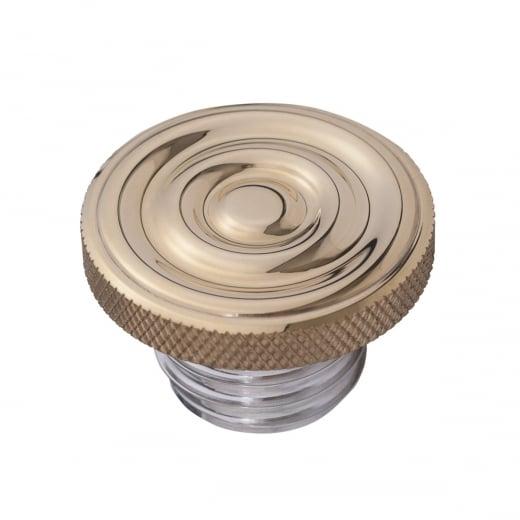 Motone Infinity Gas Cap - Brass Rippled Top - Aluminium Thread - Rippled