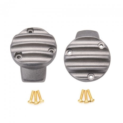 TPS Carb/Throttle Body Cover - Pair - Ribbed/Finned - Shot Blast