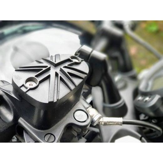 Motone Pressure Cast Disc Brake Oil Reservoir Master Cylinder Cap - Union Jack Domed