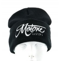 Beanie - Black - Embroidered Motone Logo in White