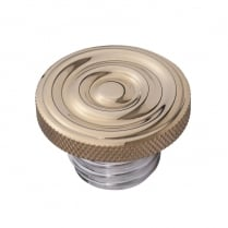 Custom Fuel Gas Cap - Brass Rippled Top - Aluminium Thread - Rippled