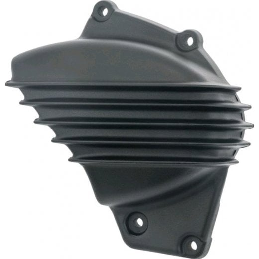 Motone Streamliner Sprocket Cover - Ribbed - Black Fins - LC - Street Twin/T100/T120