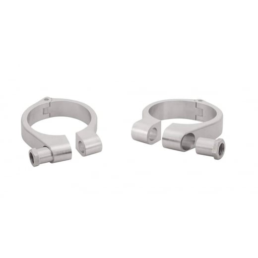Wrap-Around Fork Indicator Turn Signal Bracket Clamps - Pair - 49mm - Brushed